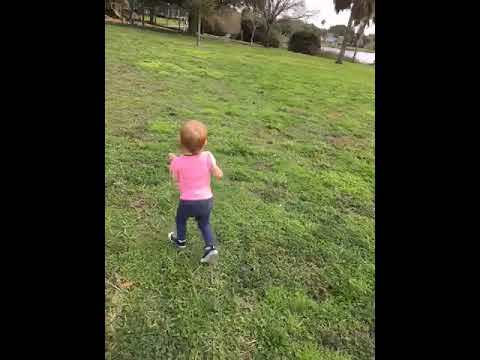Ellie's eager to play on the swings [VIDEO]