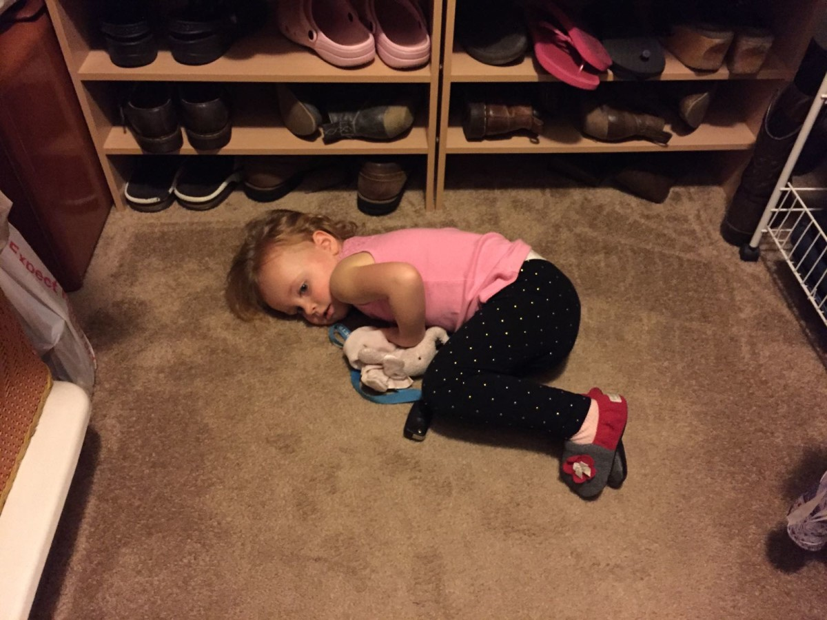 Taking a break in our closet